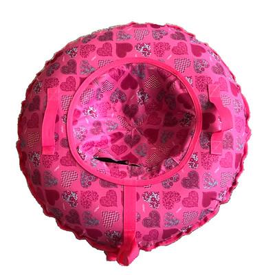 Тюбинг - ватрушка | Розовый с сердечками