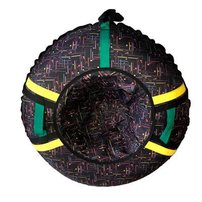 Тюбинг - ватрушка | Темный с желтыми стропами